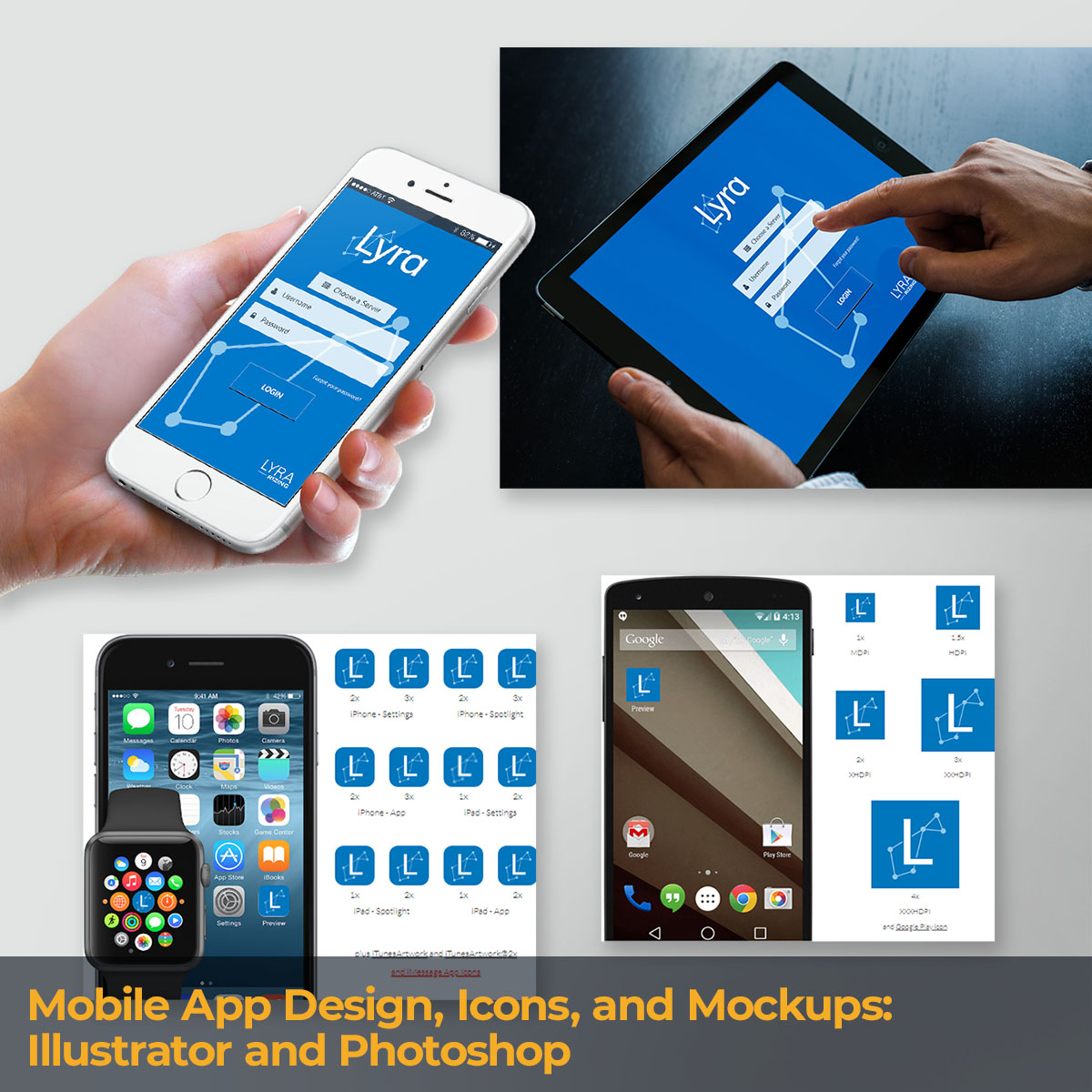 Mobile App Design, Icons, and Mockups